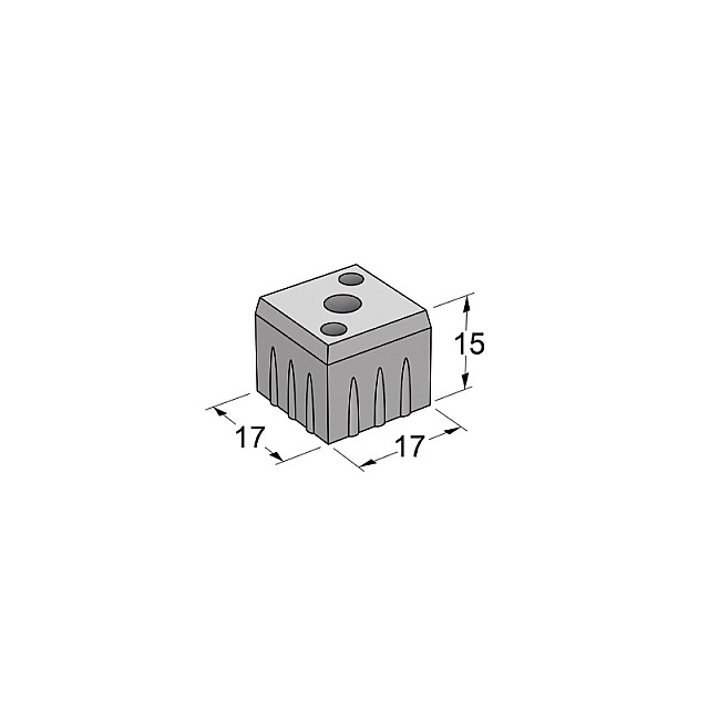 GREY SQUARE TUBE 20X20 CAP